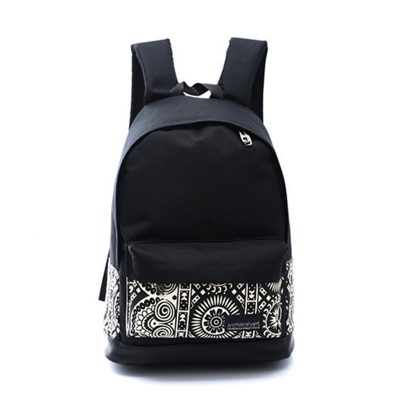 Sanwony New 1PC Unisex Canvas School Book Backpack Shoulder Bag Black Freeshipping