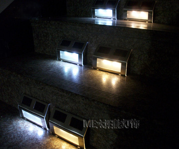 LED solar powered step light for outdoor using No batteries needed 4pcs/lot Free shipping