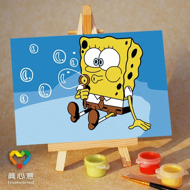 Diy digital oil painting cartoon oil painting mini painting colored drawing - blue 10 15 belt easel