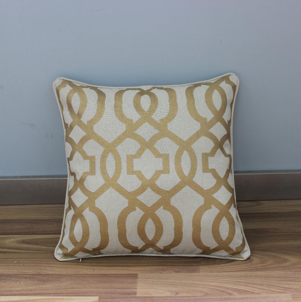 "VEZO HOME print golden geometric cotton linen sofa cushions cover home decorative throw pillows cover chair seat pillowcase18""(China (Mainland))"