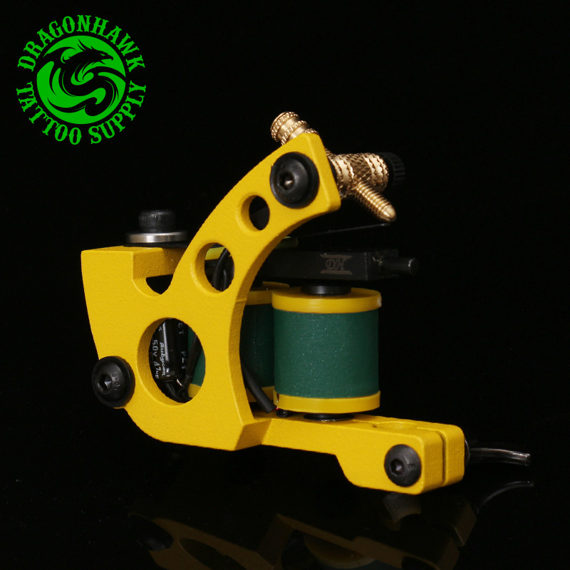 New Professional Shader And Liner Tattoo Machine 10 Warps Coils Cast Iron Yellow Tattoo Gun Handmade Tattoo Machine(China (Mainland))