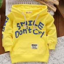 Fashion Moleton Infantil 2015 Autumn Cotton Boys/Girls Hoodies Sweatshirts Printing Letters Sudaderas Kids Sweatshirt 4 Colors(China (Mainland))