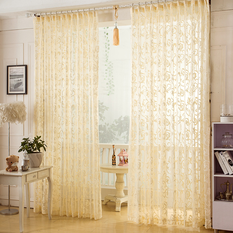 Cream Jacquard Sheer Curtains For Living Room Bedroom