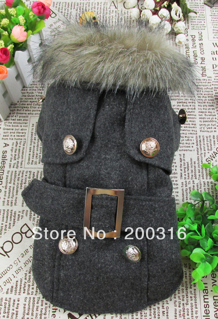 Wholesale New Dark Gray European and American style woolen quilted coat for dog Free shipping dogs dress costumes