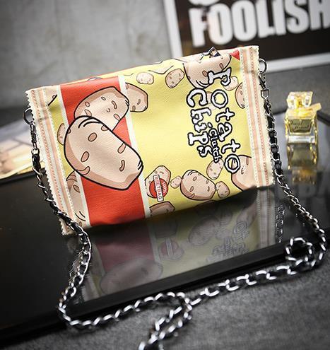 Новый персонализированные весело картофельных чипсов сумки стильный уникальный конверт мешок клатч сумочку цепь мини-сумка кошелек