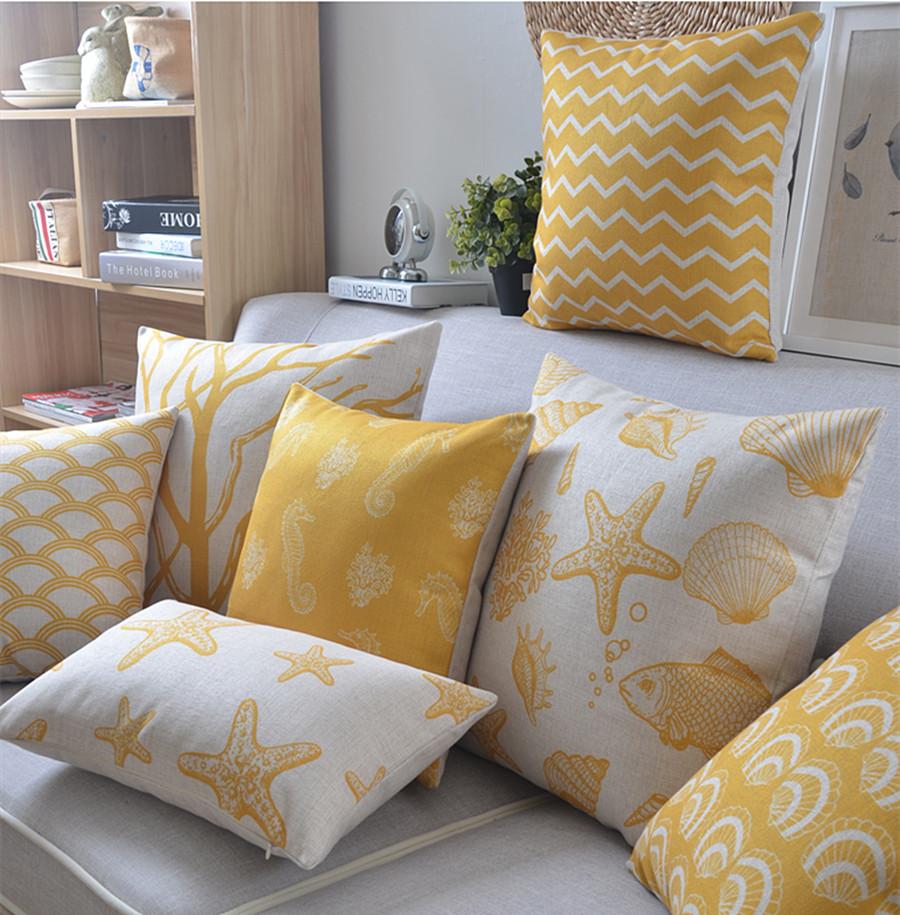 высокое качество лен подушка желтые пальмового
