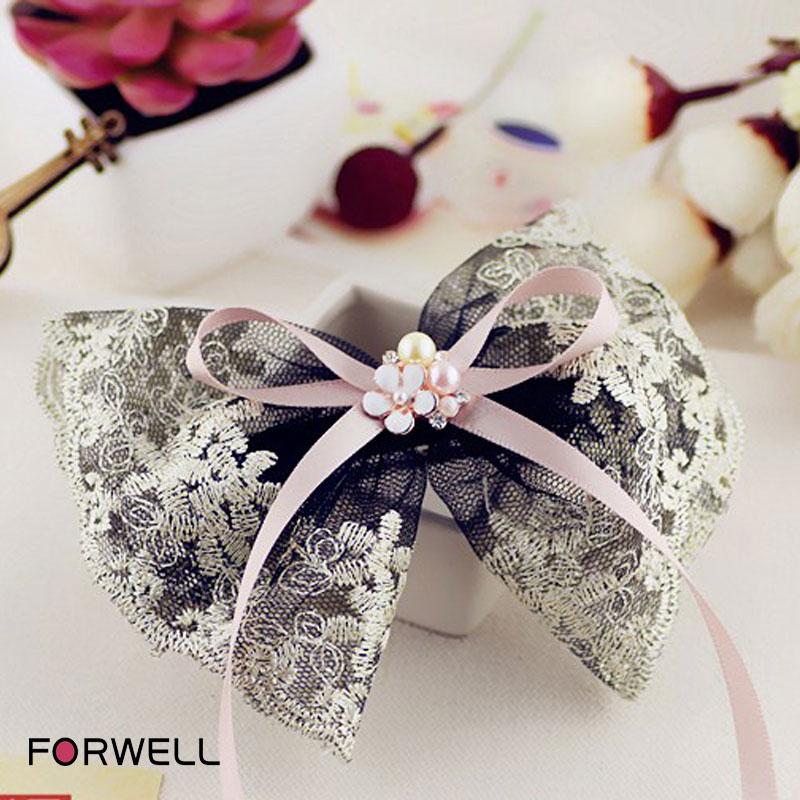 Hot Sale Big Bow Hairpins Girls Headwear Hair Accessories Flower Hair Clip Black Lace Pink Long Ribbon Hair Ornaments For Women(China (Mainland))