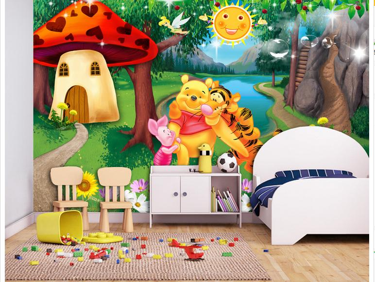 Cartoon forest background promotion shop for promotional for Childrens mural wallpaper