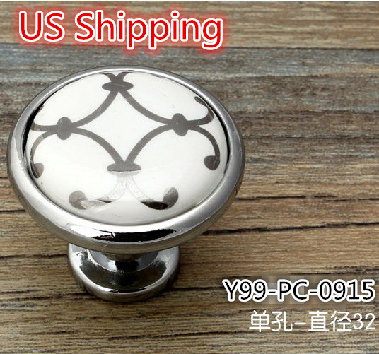 US Shipping Ceramic Zinc Alloy modern simple classic knob 5pcs Silver Flower Printed Kitchen Cabinet Furniture Handle knob(China (Mainland))