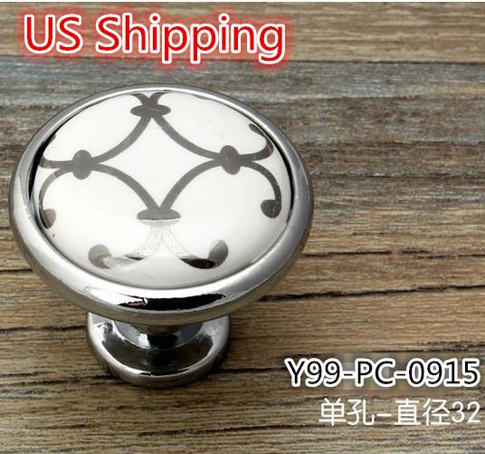 US Shipping Ceramic Zinc Alloy modern simple classic knob 5pcs Silver Flower Printed Kitchen Cabinet Furniture Handle knob(China (Mainland))