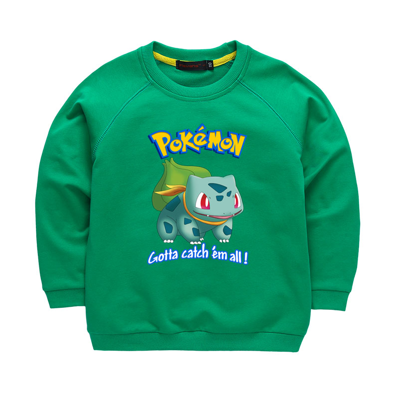 Boys Girls Hoodies font b Pokemon b font Go Bulbasaur Cartoon Sweatshirt Children Clothes Kids Clothing