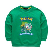 Boys Girls Hoodies Pokemon Go Bulbasaur Cartoon Sweatshirt Children Clothes Kids Clothing Long t shirt