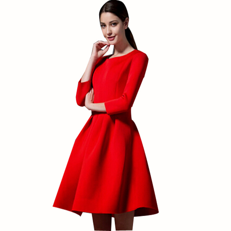 2015 Fashion New Women Winter Dress Long Sleeved Round Neck Plus Size Maxi Long Tutu Dress Red Black Casual Wool Clothes(China (Mainland))
