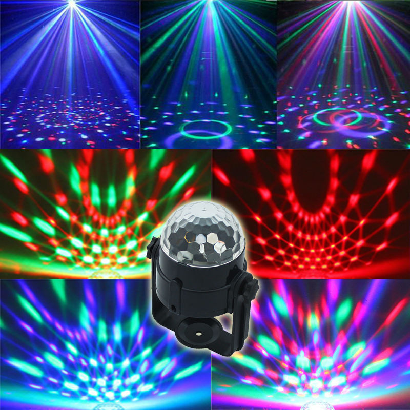 Auto Sound Control Magic Crystal Stage Lights Rotating Ball Effect RGB LED Light for KTV Stage Party Wedding Show Club Disco DJ(China (Mainland))