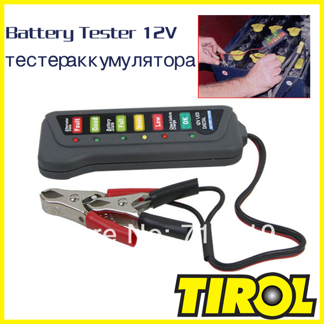 TIROL T16897a 12V LED Digital Battery/Alternator Tester with 6 Led lights Display Indicates Condition Free Shipping