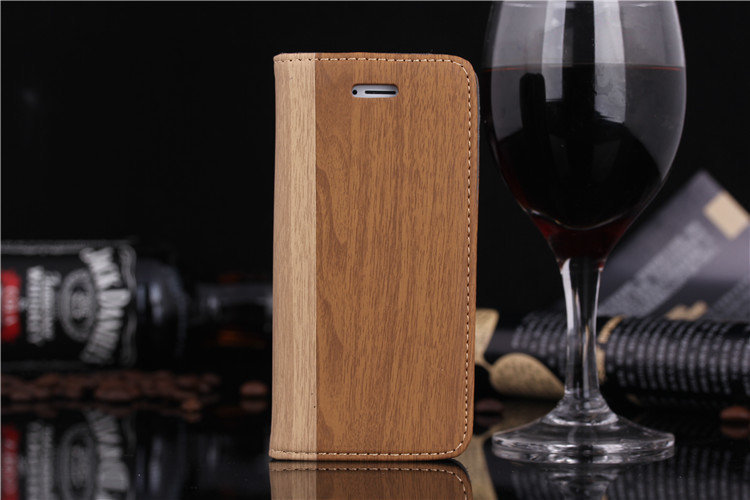New Wood Grain Designer PU Leather Case With Stand Anti-knock Wallet Flip Phone Case Cover Card Holder For Apple iPhone 5 5G 5S(China (Mainland))