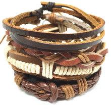 4pcs 1 Set Punk Genuine Wrap Leather Bracelets Men For Women Cuff Jewelry Accessories Wholesale(China (Mainland))
