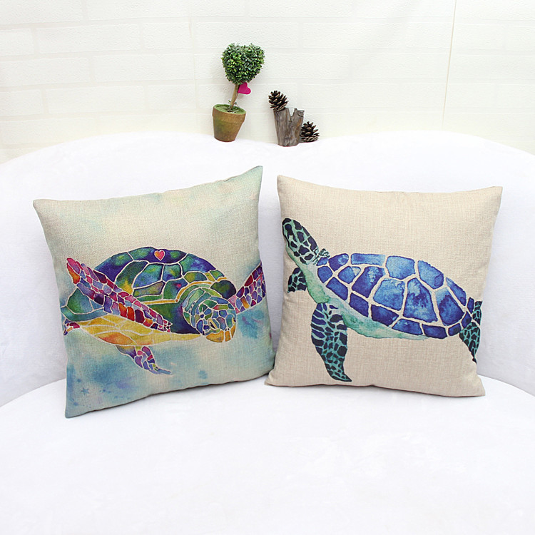 MYJ High Quality Turtle Animal Print Dining Chair Cushion Cotton Linen 45x45cm Car Seat Cushions Home