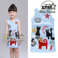 2016 Girls Summer New Elegant Cartoon Embroidery Vestidos Children s Casual Sleeveless Princess Party Kitty Applique