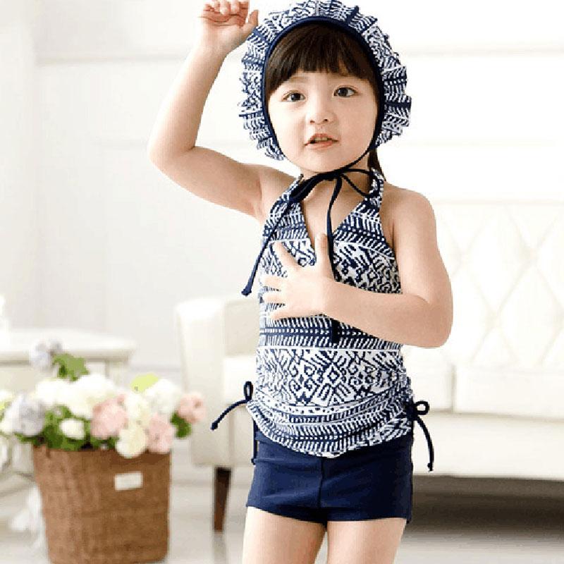 Girls Swimwear 2016 Summer Girls Bathing Suits Lovely Stripes Girls Swimsuit Kids Swimwear Cute Toddler Swimsuits Sunscreen Hat