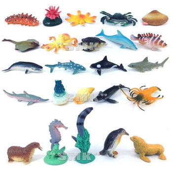 Small marine animal model .  toys for children Cognitive sea world . Vivid . High quality  . 1 lot = 24 pieces.