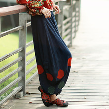 2015 New Women Cotton Linen Trousers Chinese National Style Dot Patchwork Wide Leg Bloomers Loose Long Harem Pants(China (Mainland))