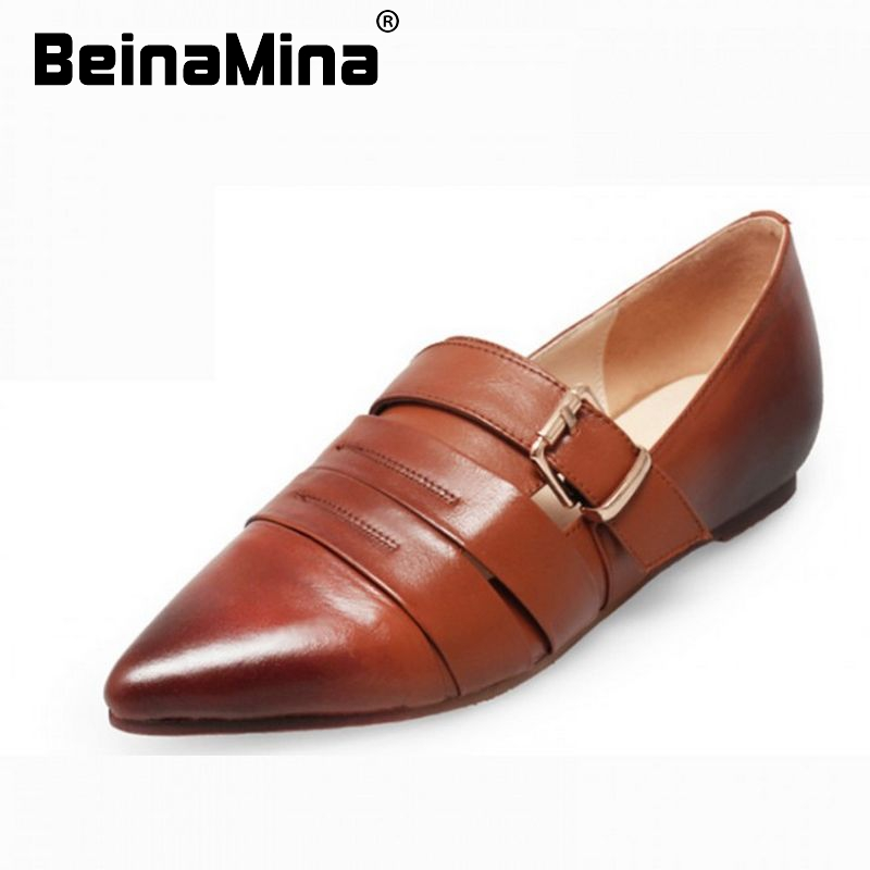women real genuine leather pointed toe flat shoes sexy ladies buckle quality fashion brand footwear shoes size 34-39 R08532<br><br>Aliexpress