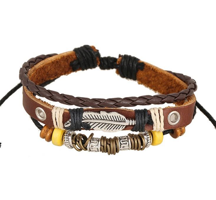 Del encanto trenzado artesanal cuero genuino pulsera hombres pulseras tejidas moda brazaletes de corea de la