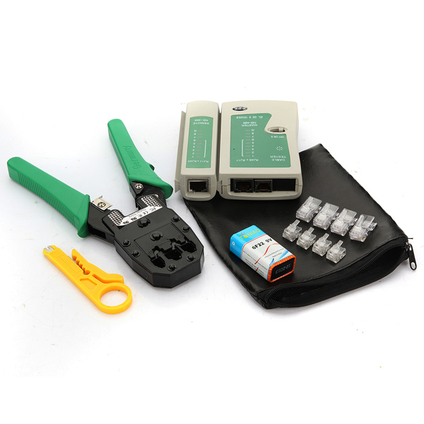 2015 Profession 12PCS/Lot RJ45 RJ11 RJ12 CAT5 LAN Network Cable Networking Tester Included 9V Battery Crimp Crimper Tools Kits(China (Mainland))