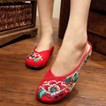 2016 Summer Women Canvas Cloth Flats Slippers Ladies Vintage Flower Embroidered Sandal Flat Female Oxford Sole