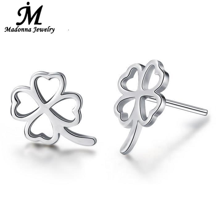 Fashionable Women Jewelry Heart Shaped Design Happiness Clover Gold Silver Plated Stud Earrings Retro Ear Jewelry Flower Design(China (Mainland))