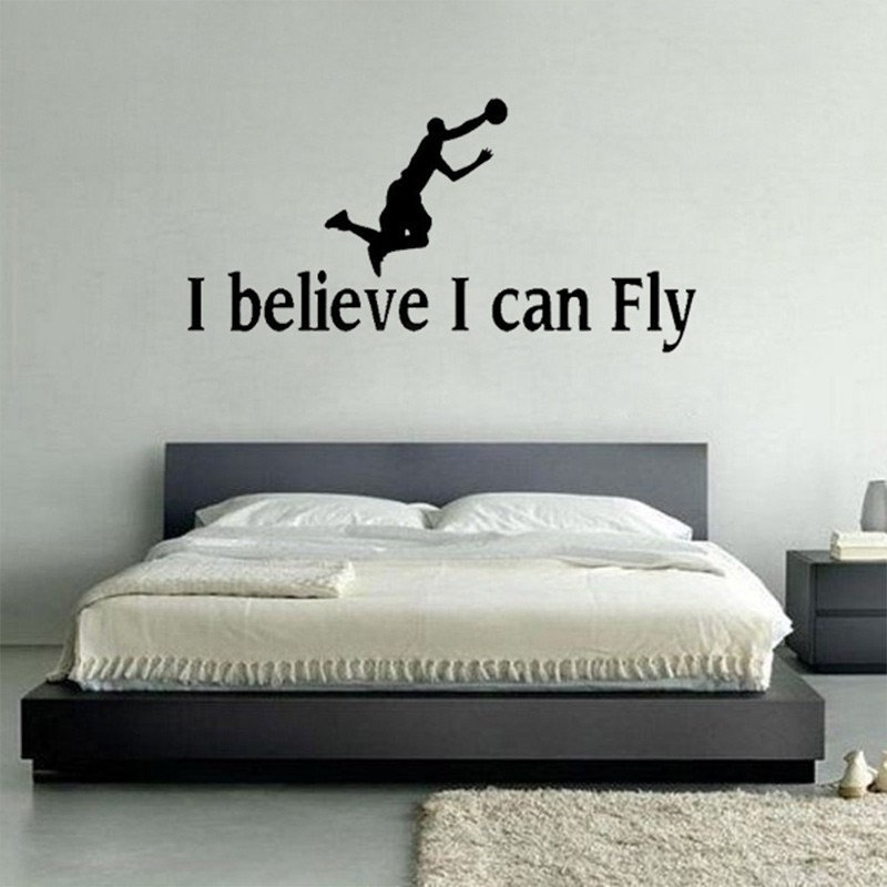 I Believe I Can Fly Boys rooms decoration Wall Stickers living room Art Decal Poster Basketball Vinyl wallpaper Quote home decor(China (Mainland))