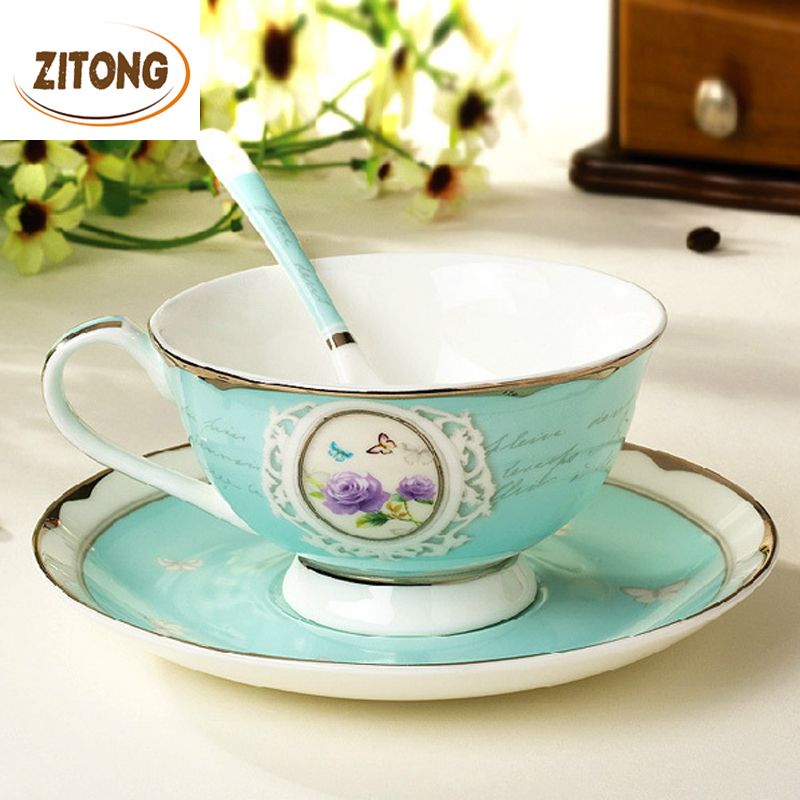 Top Grade Bone China Coffee Cup Set Silver Fringe Printing Cups And Mugs Advance Ceramic Drink Tools(China (Mainland))