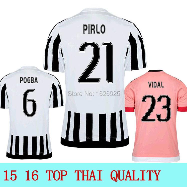 2016 Top Thai quality PRILO POGBA jersey TEVEZ LLORENTE VIDAL MACHISIO MORATA 15 16 Soccer Jersey(China (Mainland))