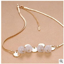 XL1021 2015 New Fashion Bohemian style sequined opal necklace female short clavicle chain Jewelry Wholesale(China (Mainland))
