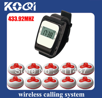 1 Set Wireless Watch Call Calling Waiter Server Paging Service System for Restaurant Tea House A3-630 w 10 Round Bell DHL free