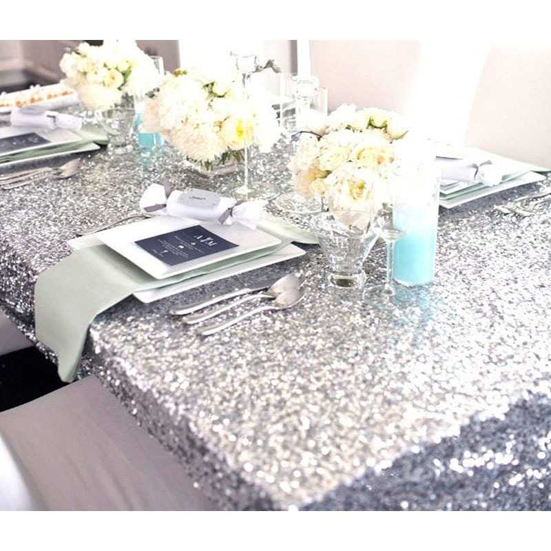 90'' by 132'' Shiny Rectangle Embroidery Silver Sequin ...
