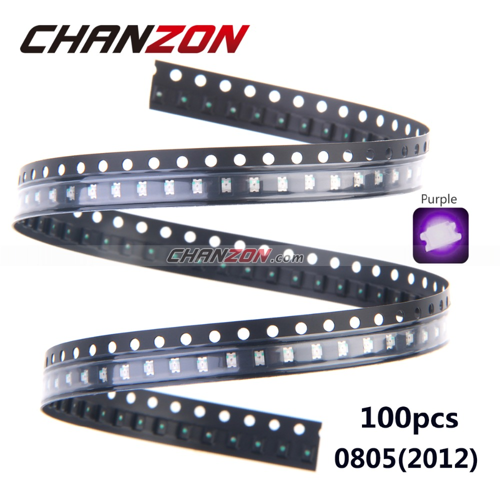 100pcs SMD Purple UV Surface Mount LED Chips 0805 (2012) Ultraviolet 395nm - 400nm LED Light Emitting Diode Lamp(China (Mainland))