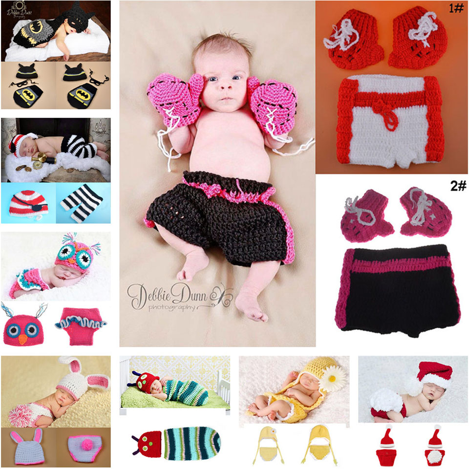 2015 Baby Boy Girl Crochet Hats Photography Props Infant Kids Knitted Costume Clothes Crochet Clothes Baby 1set/lot MZS-14012(China (Mainland))