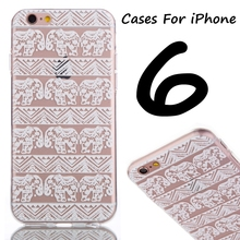 Ultra thin Elephant Flower Soft TPU Mobile Phone Cases Case For iPhone 5C 5S 6 6S Plus Phone Back Cover Bags