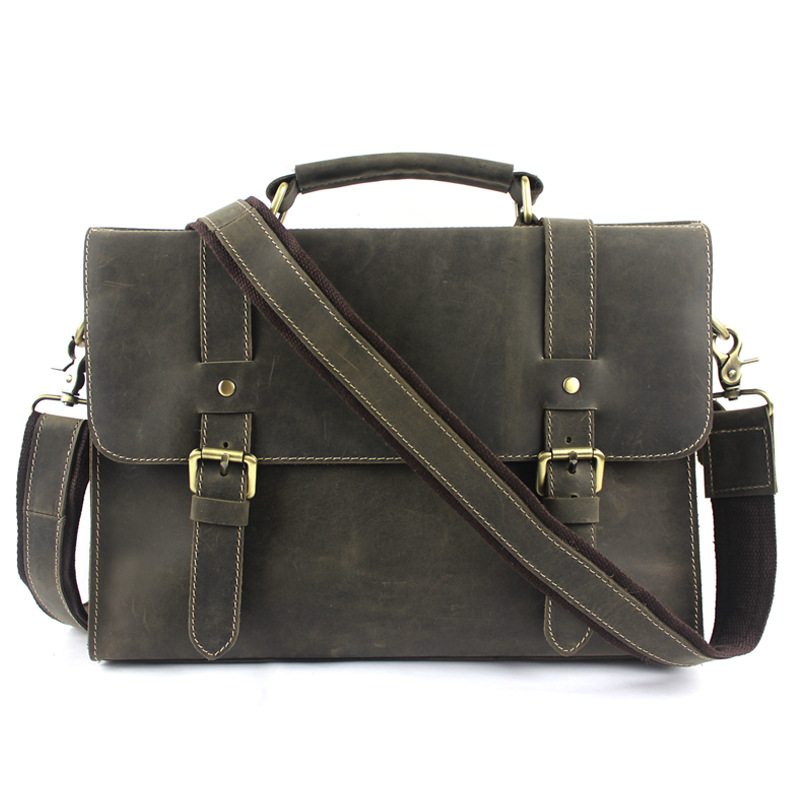 Top grade leather bags mens leather laptop bags zipper pocket solid color crazy horse definition(China (Mainland))