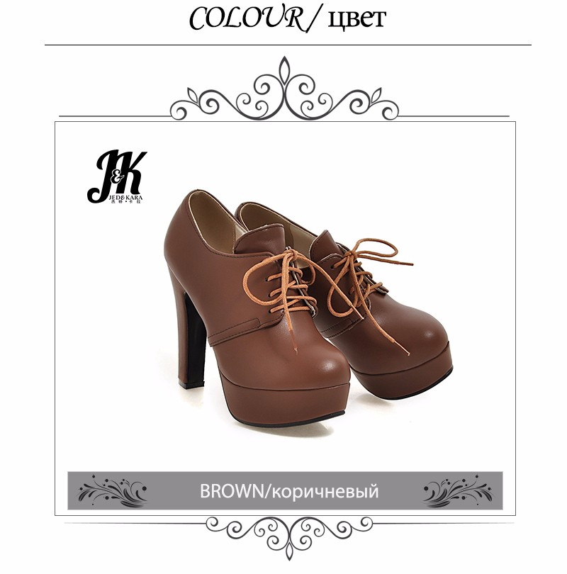 J&K 2017 Brand Super Big Size 32-47 Women Pumps Lace Up Spring High Heels Shoes Women Platform Pumps Thick Heel Solid Shoes