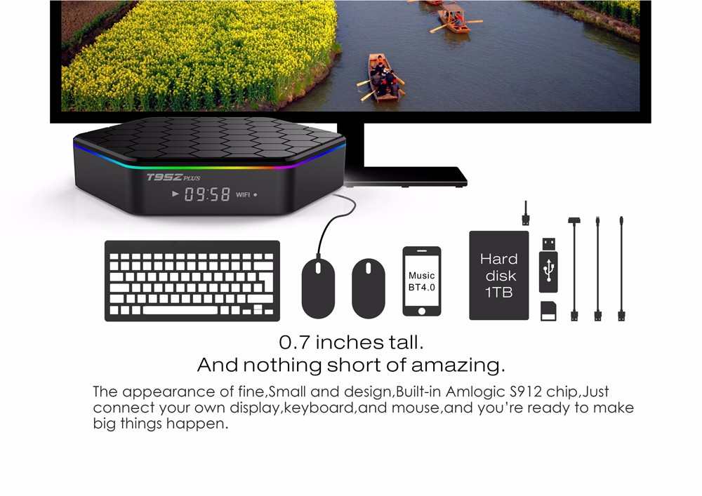 ถูก T95ZพลัสA Mlogic S912 Android TV Box Octa core ARM Cortex-A53 2กรัม/16กรัมAndroid 6.0กล่องทีวีWiFi BT4.0 2.4กรัม/5.8กรัมH.265 4พันเล่น