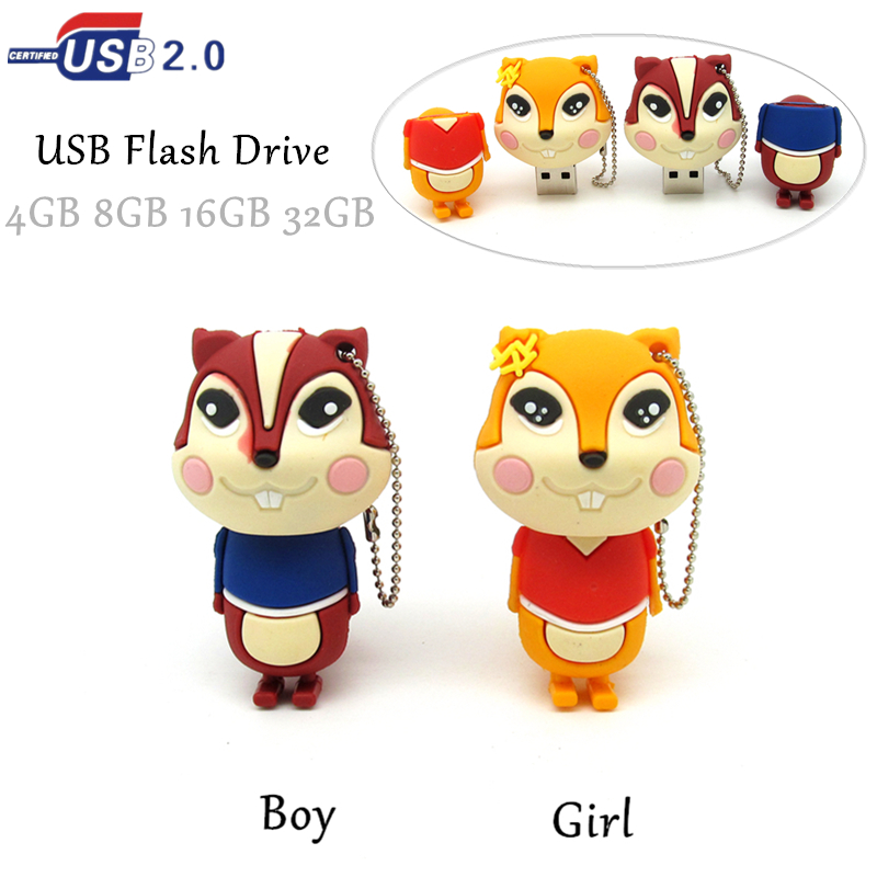 Lovely boy girl squirrel usb flash drive disk memory stick mini computer gift 4gb 8gb 16gb pendrive 32gb Pen drive personalized(China (Mainland))