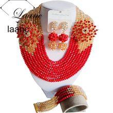 Fabulous Sôcôla Brown Vàng Sâm Banh Pha Lê Nigeria Truyền Thống Wedding Beads Phi Jewelry Đặt Miễn Phí Vận Chuyển ABD397(China)