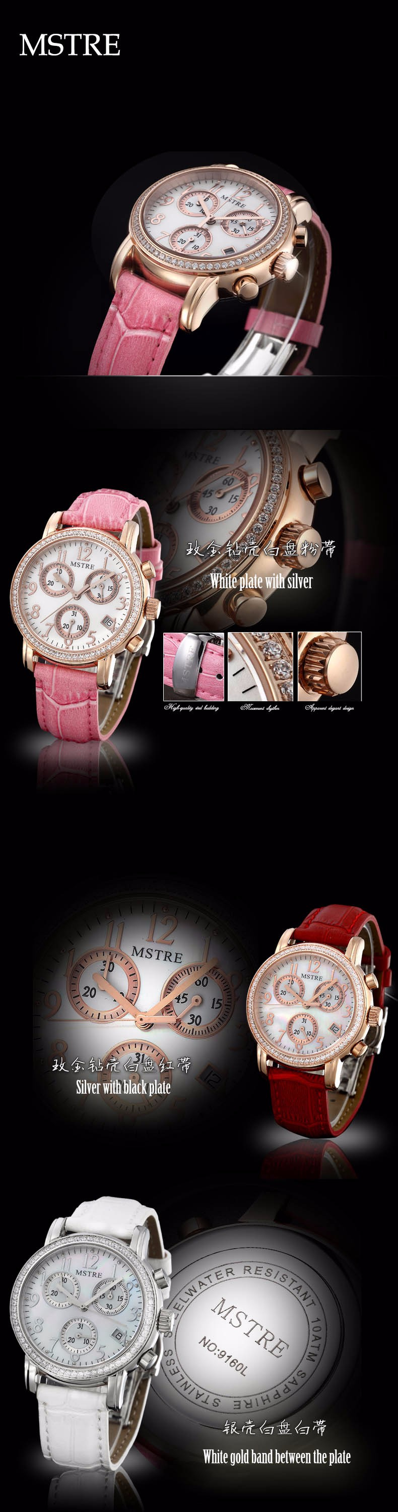 Brand Fashion Luxury Dress Watch Women Quartz-Watch Leather Strap Diamond Wristwatches Ladies Waterproof 100M Calendar Clock
