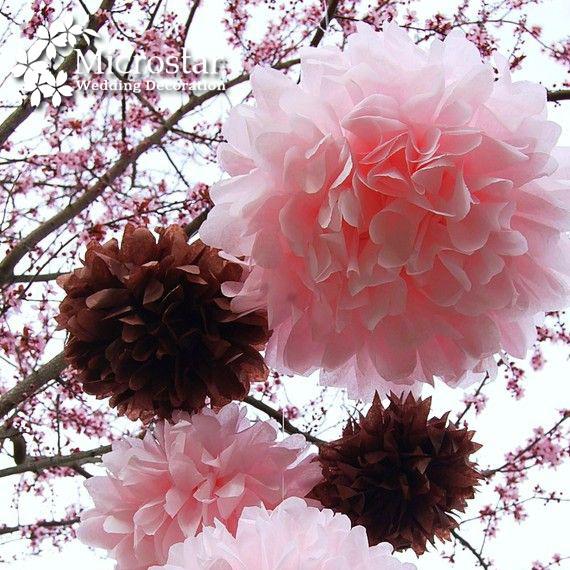 Pom Pom 1pcs 14 inch 35cm Tissue Paper Pom Poms Artificial Flower Balls Wedding Decoration Paper
