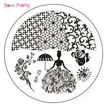 Rosa rainha de Nail Art Stamp Template imagem placa recém-nascido bonito BP25
