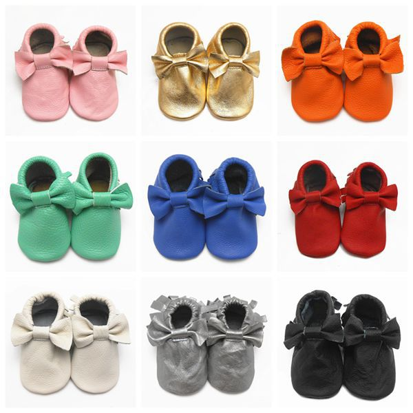 10 Pairs/1 Set Wholesale Fringe Baby Shoes First Walker Cow Leather Lace Bow-knot Newborn Sapato Baby Moccasins Kids Girls Shoes<br><br>Aliexpress
