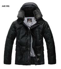 S-3XL Italy's top peuterey men's In long section warm 90% white duck down detachable fur collar thicken down jacket coat(China (Mainland))